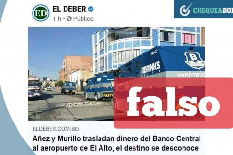 La captura de la noticia falsa que circula en redes.