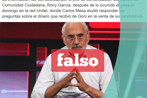 Una captura de la noticia falsa que circula en Facebook.