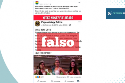Captura de la noticia falsa que circula en Facebook.