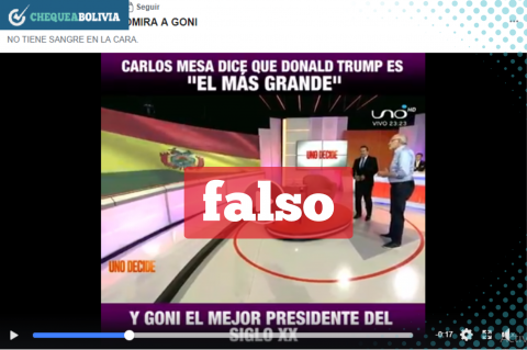 Una captura del video falso que circula en Facebook.