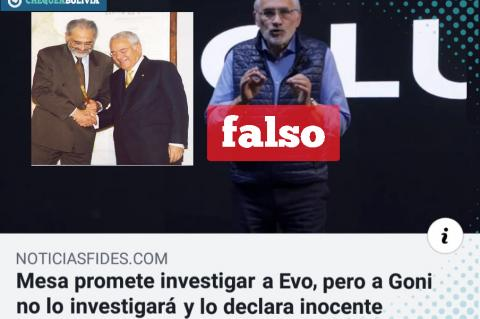 La noticia falsa que circula en Facebook.