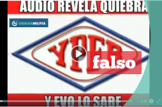 La captura del video en el que se titula que YPFB está en quiebra.